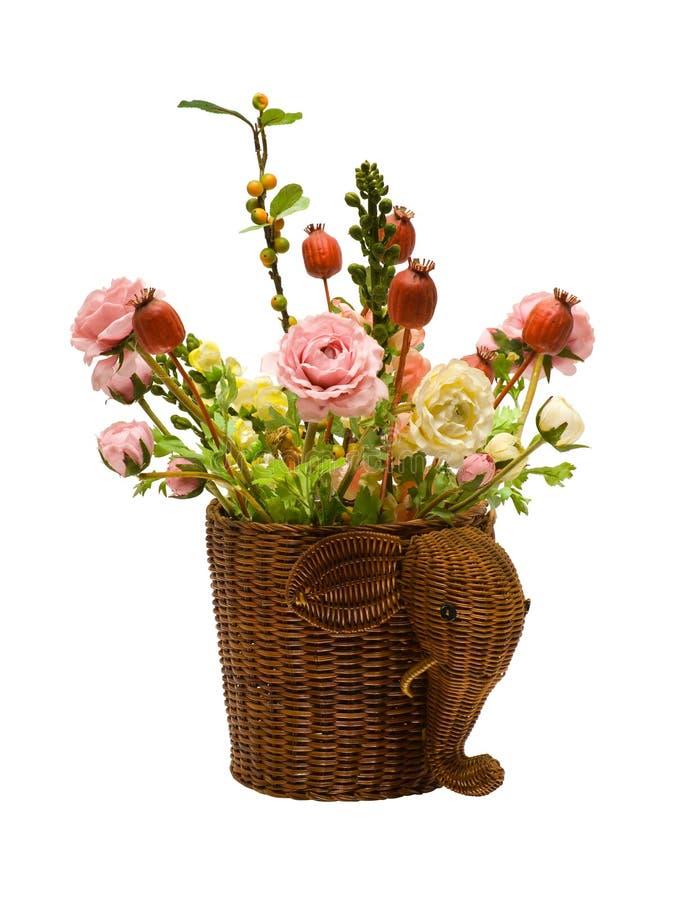 Flowers in basket royalty free stock image