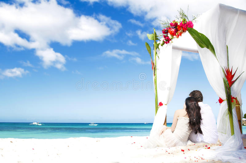 Download With flowers on beach stock image. Image of engagement - 33224403