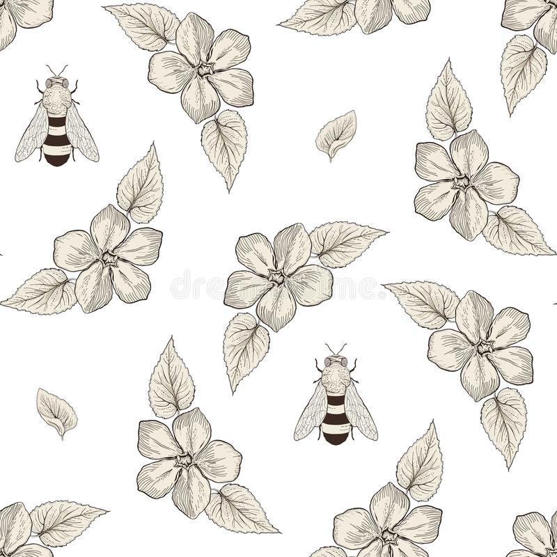 Flowers and bees seamless pattern vintage engraving style. Hand drawn floral seamless pattern with honey bees. Vintage engraving style vector illustration