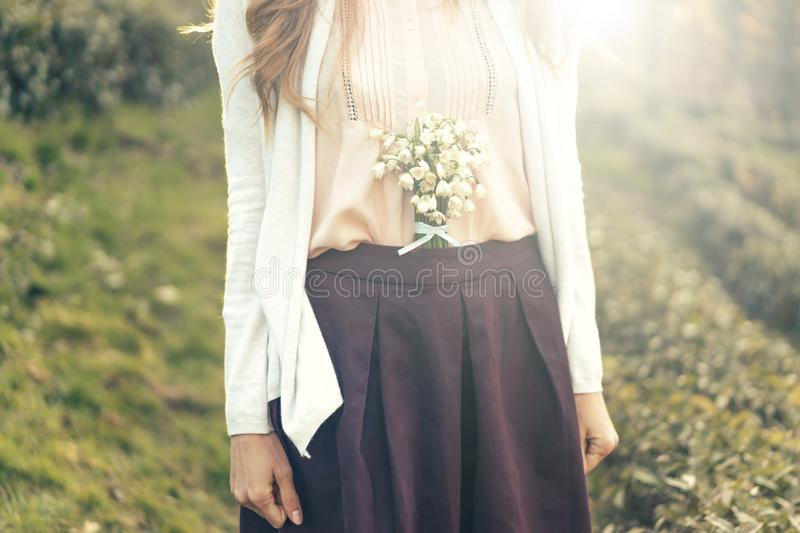 Flowers in a belt stock photos