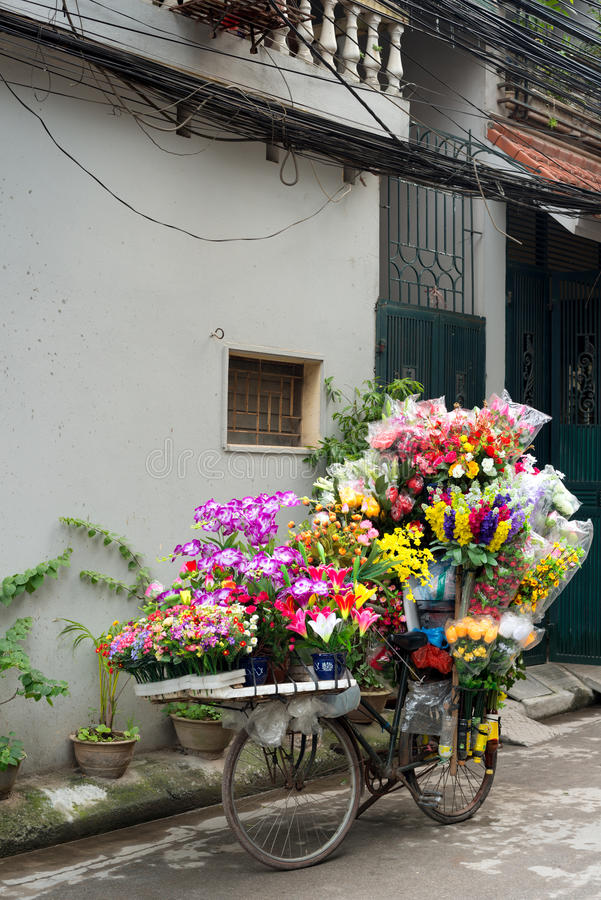 Flowers on a bicycle, Hanoi, Vietnam royalty free stock photography