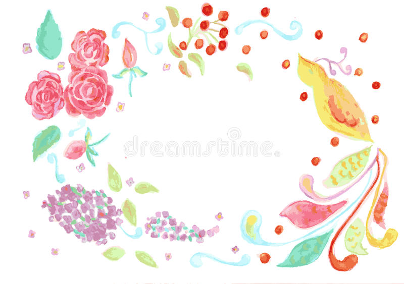 Flowers and bird royalty free illustration