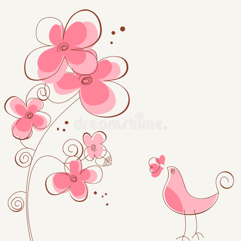 Flowers and bird love story stock illustration