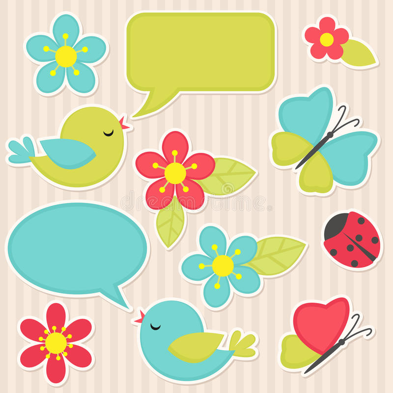Flowers and birds royalty free illustration
