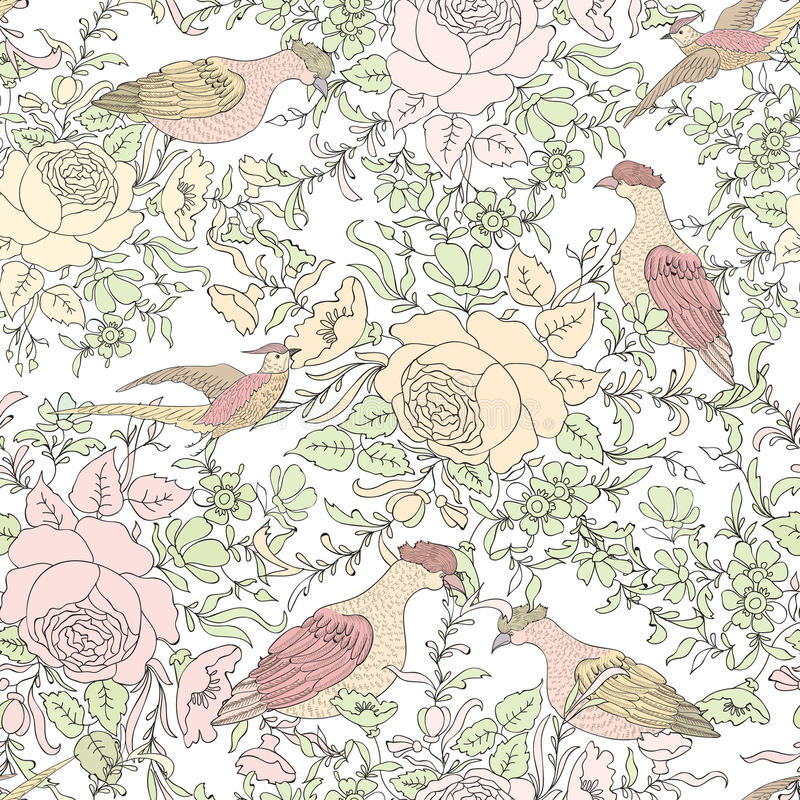 Flowers and birds. Floral background. Flower pattern. stock illustration