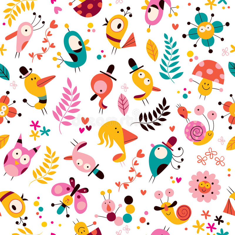 Free Flowers, Birds, Mushrooms & Snails Characters Nature Pattern Royalty Free Stock Photo - 36245405