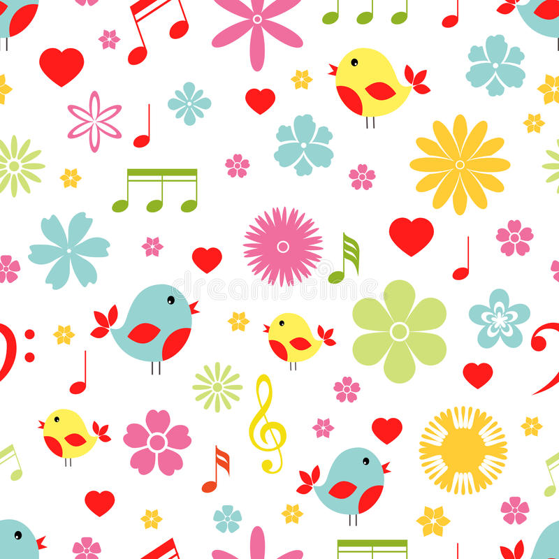 Flowers birds and music notes seamless pattern stock illustration