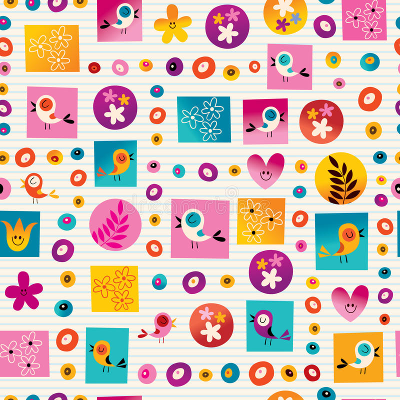 Flowers and birds nature seamless pattern. With lined paper background royalty free illustration