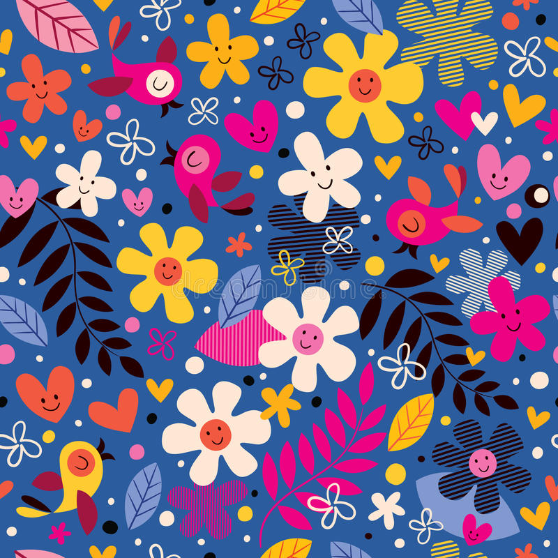 Flowers and birds pattern vector illustration
