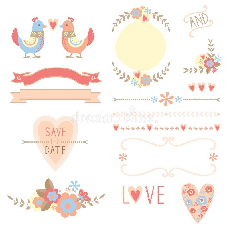 Flowers and birds wedding elements stock photo