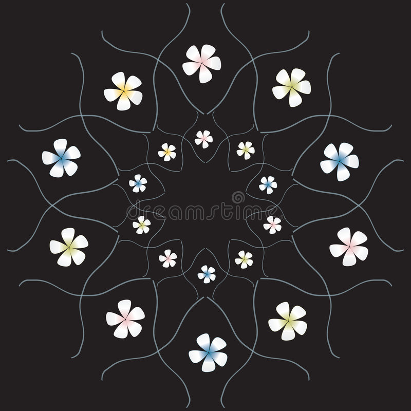 Flowers on the black background stock photography