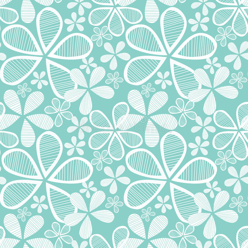 Flowers on Blue Seamless Background royalty free illustration