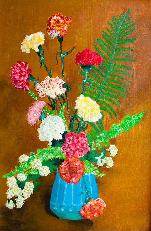 Flowers in a blue vase oil painting stock image