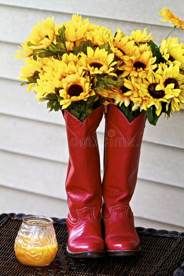 Flowers and Boots. Baby sunflowers flowing out of shiny red cowgirl boots alongside yellow candle vase two bouquets country gal kickers stuffed matched pair stock image