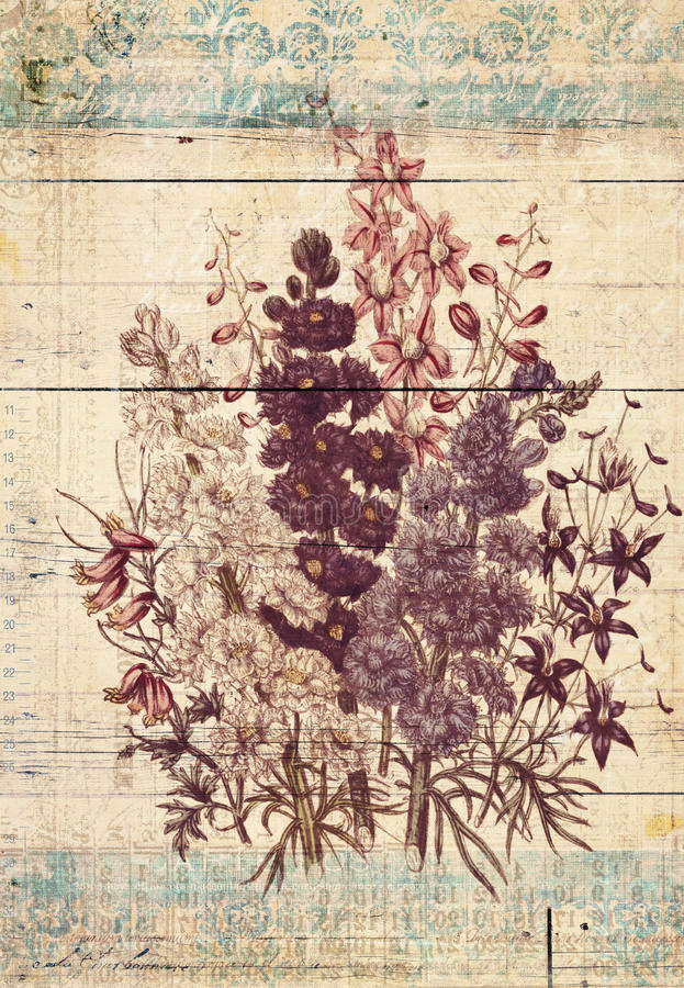 Flowers Botanical Vintage Style Wall Art with Textured Background stock illustration