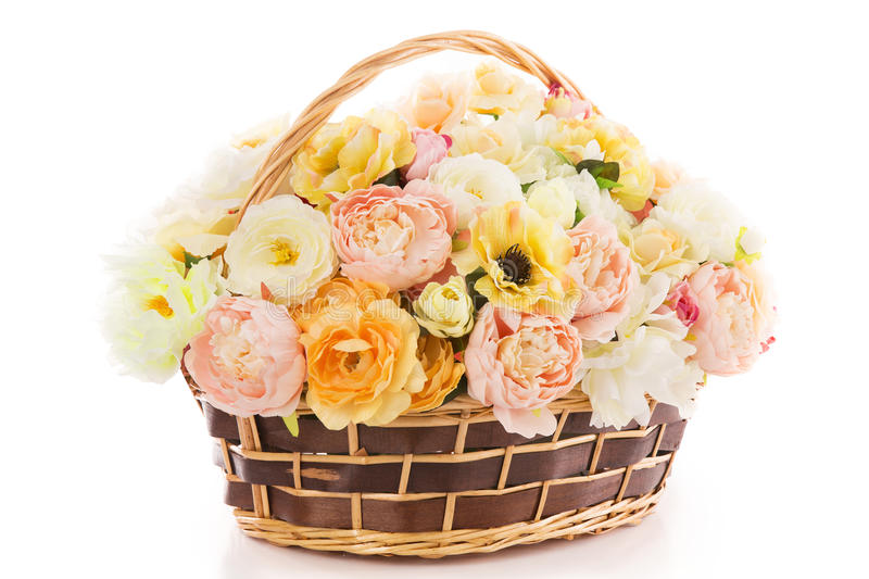 Flowers bouquet peony in basket, isolated white backgound. Flowers bouquet peony in basket, isolated over white backgound stock photography