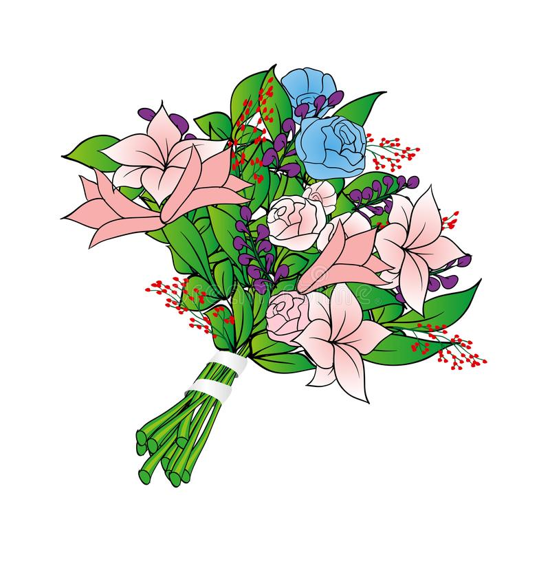 Flowers. Bouquet of roses and lily with leaves. stock illustration