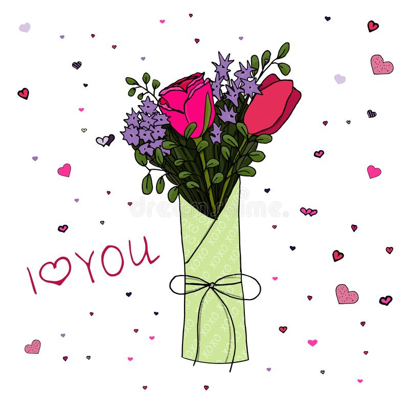 Flowers bouquet for Valentine`s Day. Rose, tulip and violet flowers, hearts and i love you lettering stock illustration