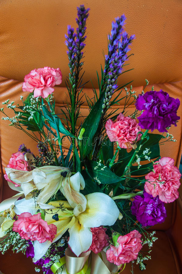 Flowers bouquet in vase. Colorful flowers bouquet in vase royalty free stock photos