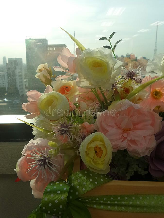 Flowers Bouquet In Window Glass Stock Photo - Image of glass ...