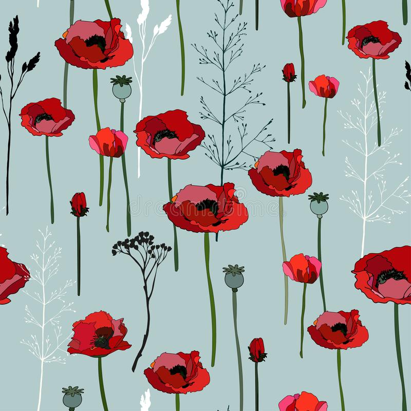 Flowers and boxes of poppies, twigs of grass seamless pattern. Vector illustration with plants royalty free illustration