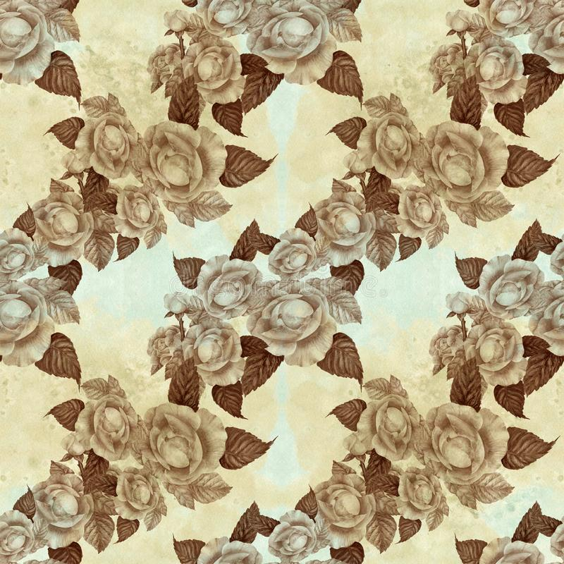Flowers A branch of roses with leaves, flowers and buds. Watercolor. Seamless background. Collage of flowers and leaves on a water. Color background. Use printed stock illustration