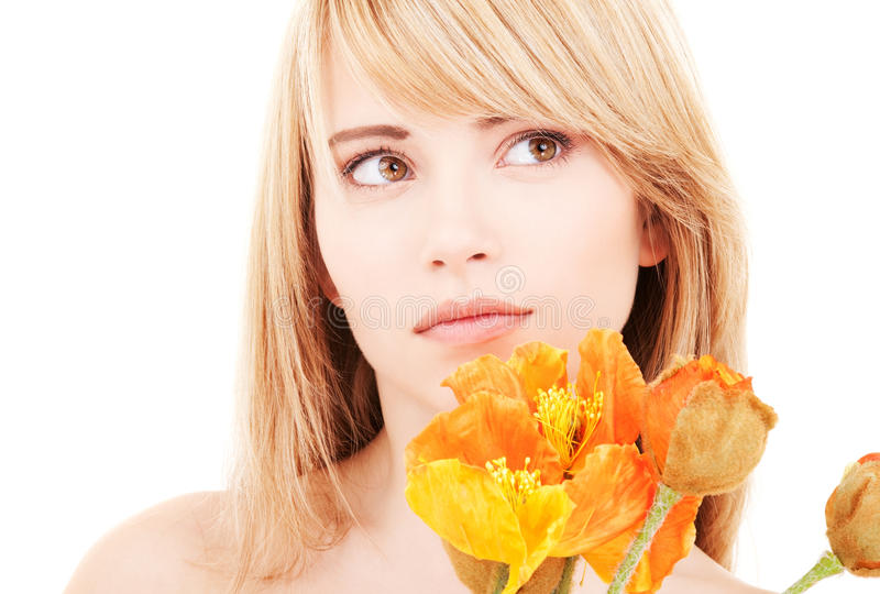Flowers. Bright picture of lovely teen with flowers stock photos