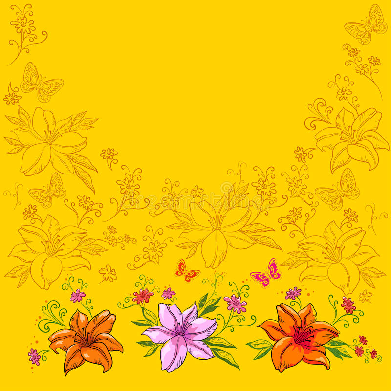 Download Flowers and butterflies stock vector. Illustration of graphic - 18326314