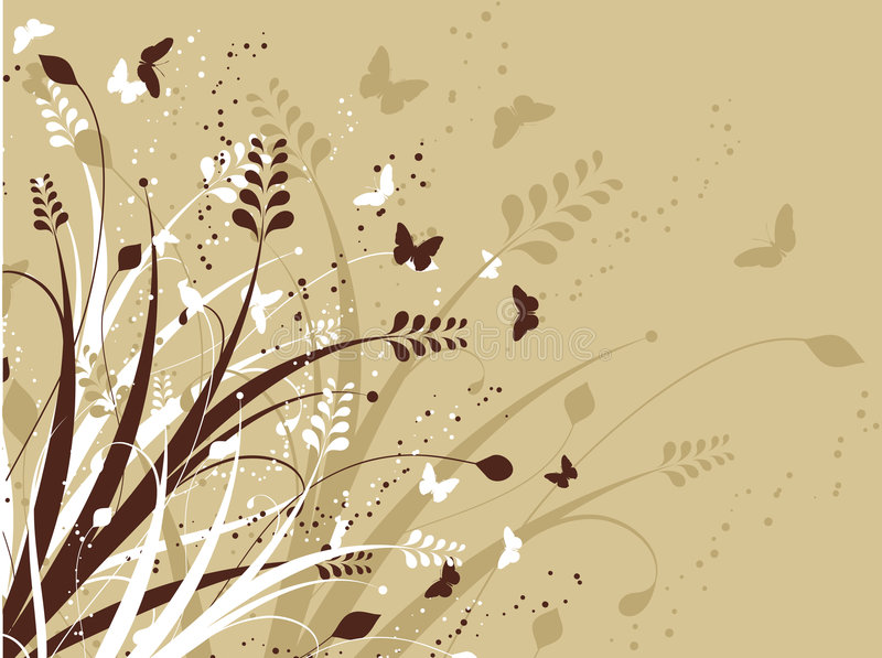 Flowers and butterflies vector illustration