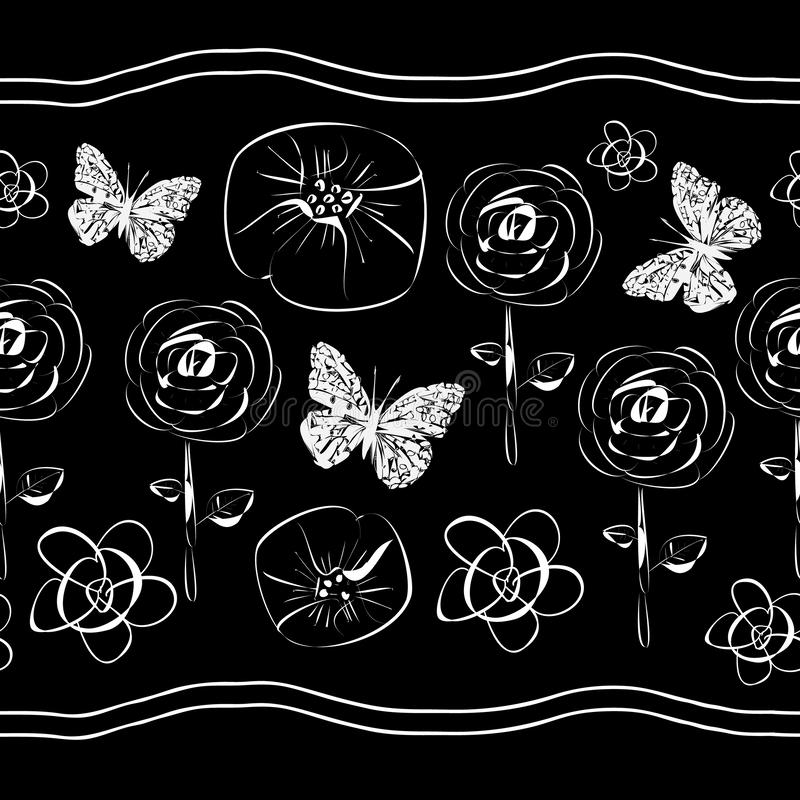 Flowers and Butterflies-Flowers in Bloom seamles repeat pattern Background in Black and white. Flowers and Butterflies-Flowers in Bloom seamles repeat pattern vector illustration