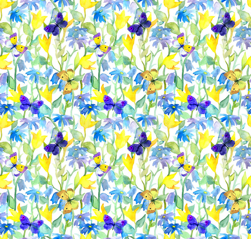 Flowers and butterflies. Watercolor floral seamless pattern. Watercolour. With blotches and brush strokes stock photography