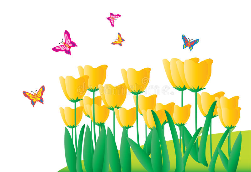Download Flowers And Butterfliesr (with Ai File) Royalty Free Stock Photos - Image: 12701188