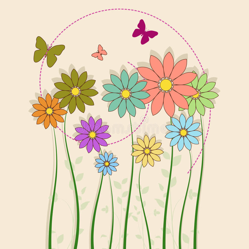 Download Flowers with butterfly stock vector. Image of flower - 14852729