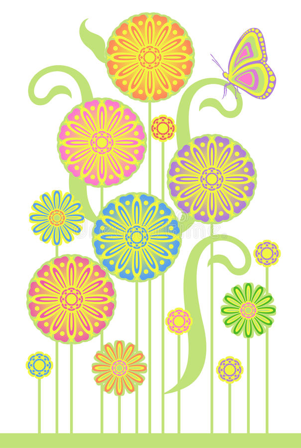 Download Flowers and butterfly stock vector. Illustration of leaves - 23875426