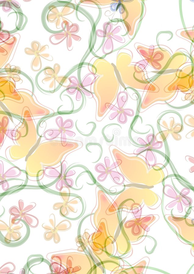 Flowers Butterfly Backgrounds royalty free illustration