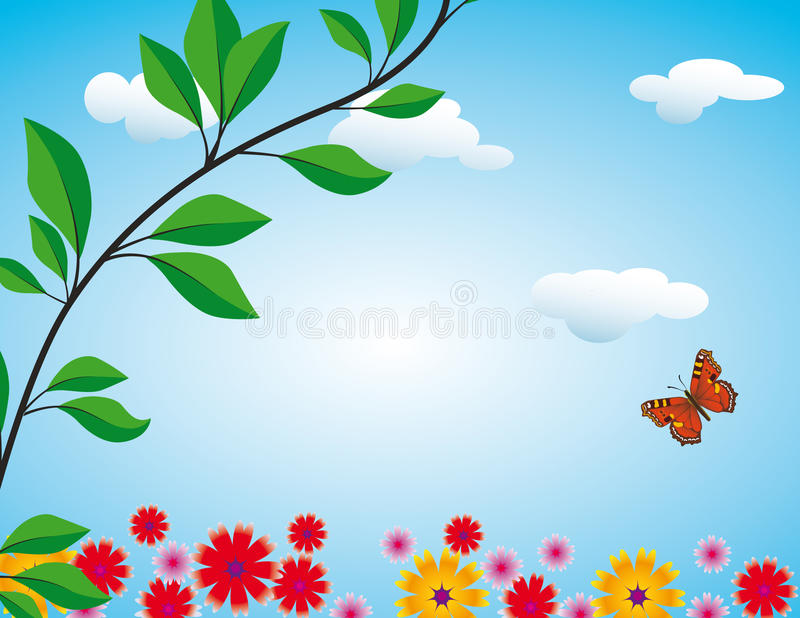 Flowers, butterfly and clouds