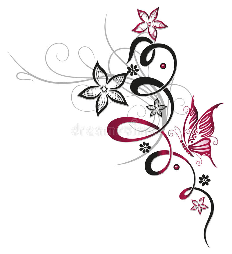 Download Flowers, butterfly, floral stock vector. Illustration of floral - 33650799