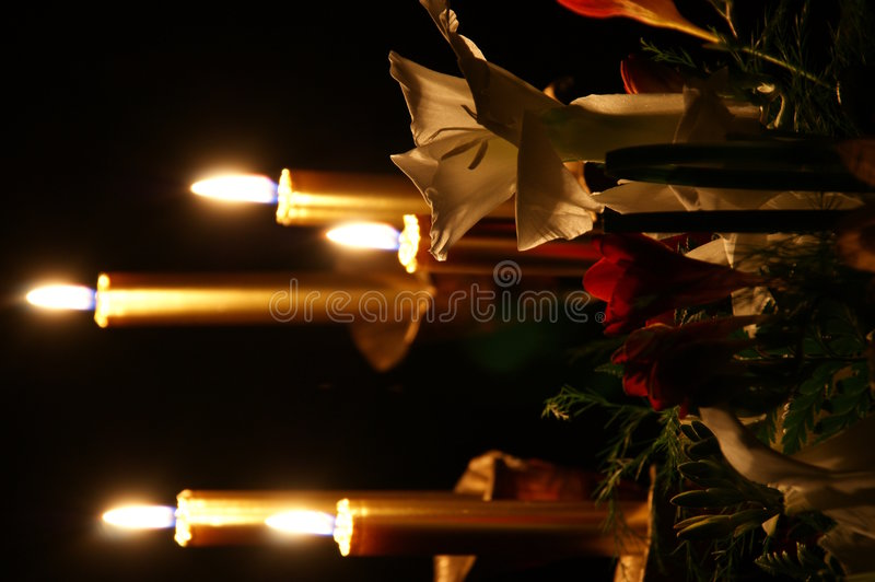 Flowers and Candles royalty free stock image