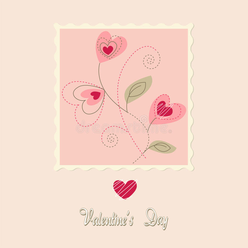 flowers card, valentine's day stock illustration