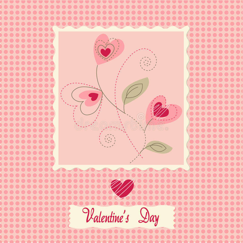 flowers card, valentine's day royalty free illustration