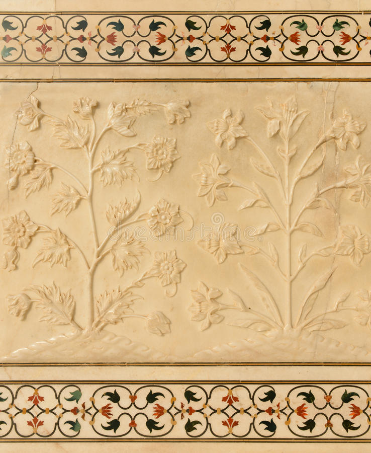 Flowers Carved Into Taj Mahal Stock Photo - Image of architecture ...