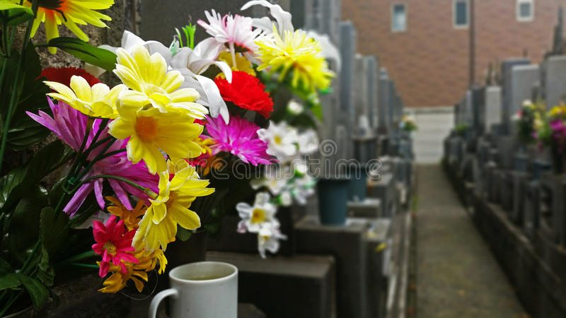 Flowers at cementery stock photos