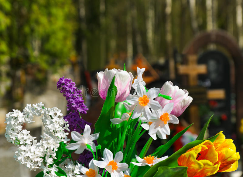 Flowers And Cemetery Stock Image