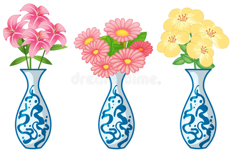 Flowers in ceremic vase. Illustration stock illustration