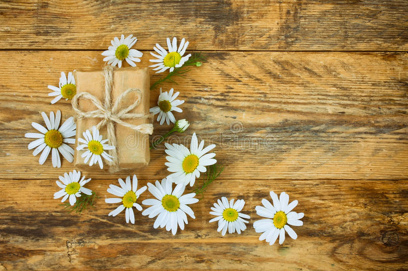 Flowers chamomile and gift box stock photos