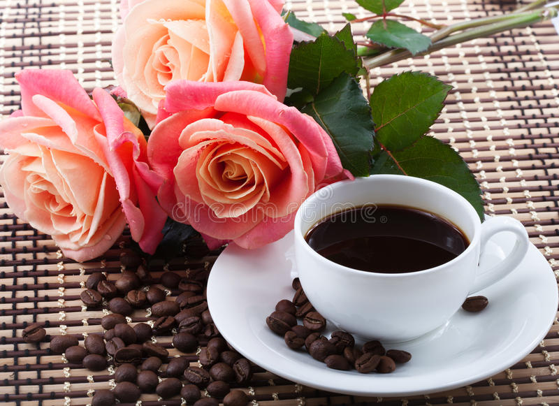 Flowers and coffee royalty free stock images