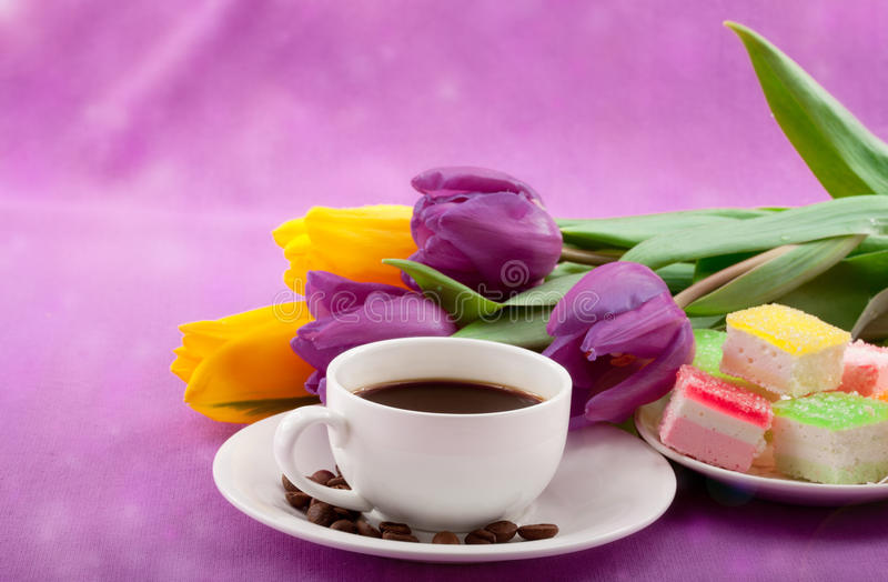 Download Flowers, Coffee And Sweets. Stock Photo - Image: 28806448