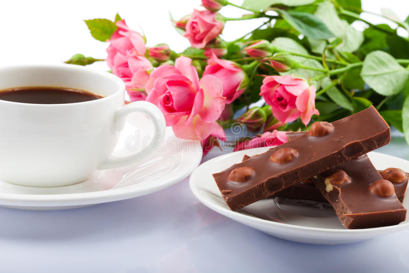 Flowers, coffee and sweets.
