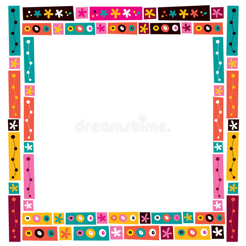 Flowers Collage Decorative Frame Border Stock Vector - Illustration ...