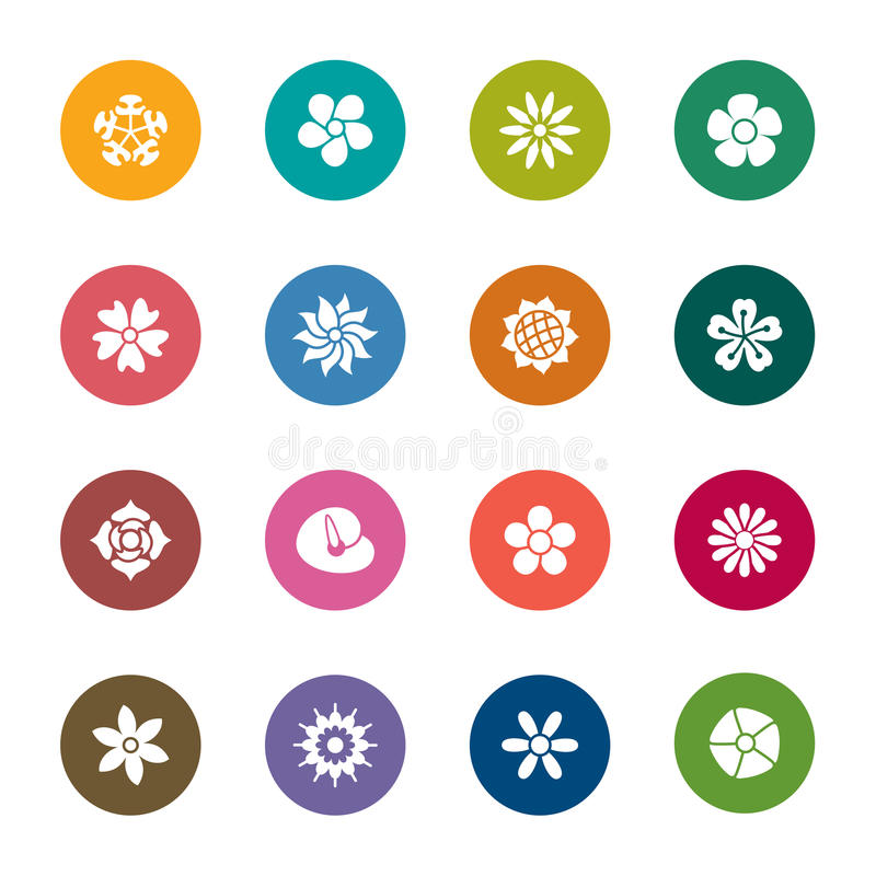 Flowers Color Icons stock illustration